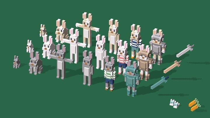 Rabbits and Items 3D Model