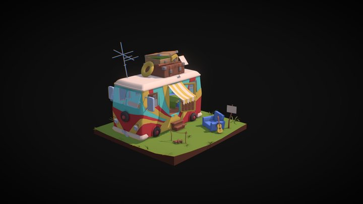 The Camp of the Hippies 3D Model