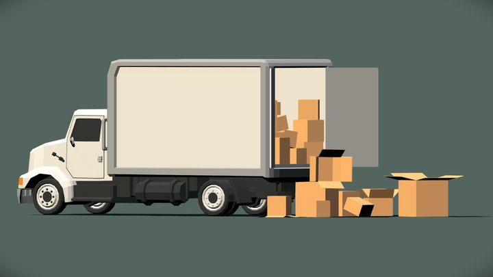 Low-Poly Supply Truck 3D Model