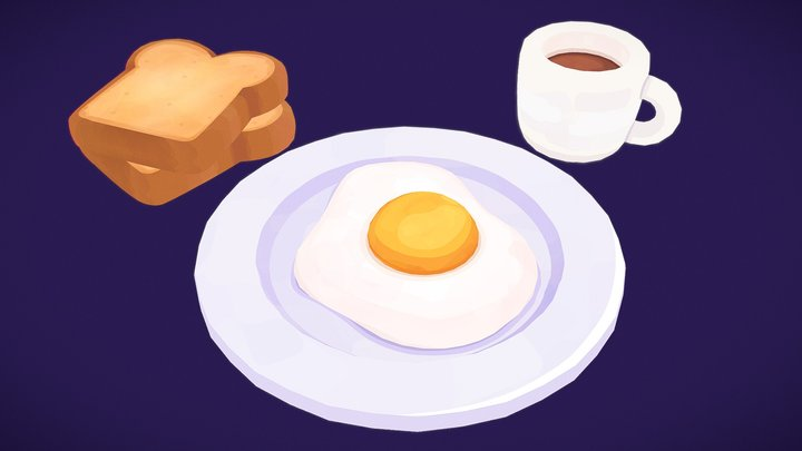Cartoon Egg on a Plate 3D Model