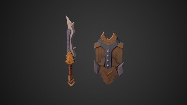 Painted Sword and Shield 3D Model