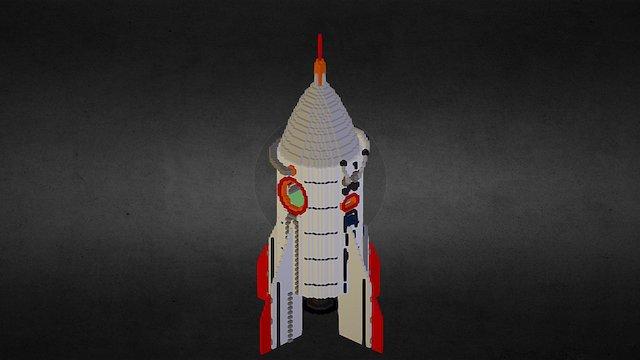 Voxel Rocket 3D Model