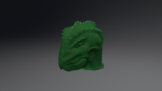 Painted Detailed Alien Head 3D Model