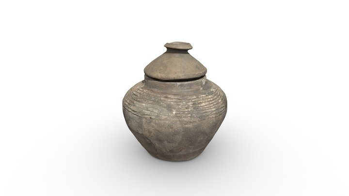 Wheel turned ceramic pot with lid, clay. 3D Model
