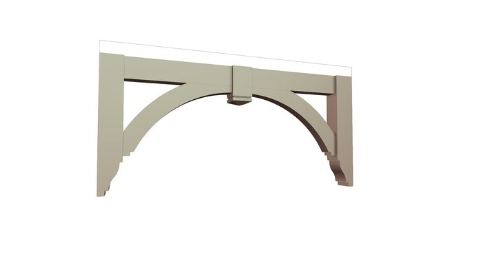Porch Bracket 114T1 - Width Optional (72' shown) 3D Model