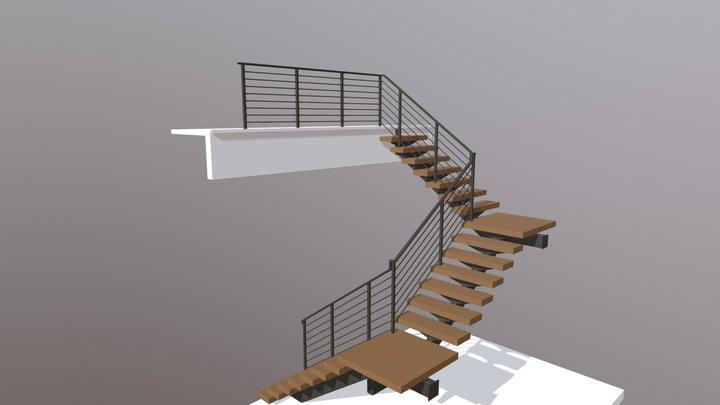 Single Stringer Stair & Int. Rails (Kennedy Res) 3D Model