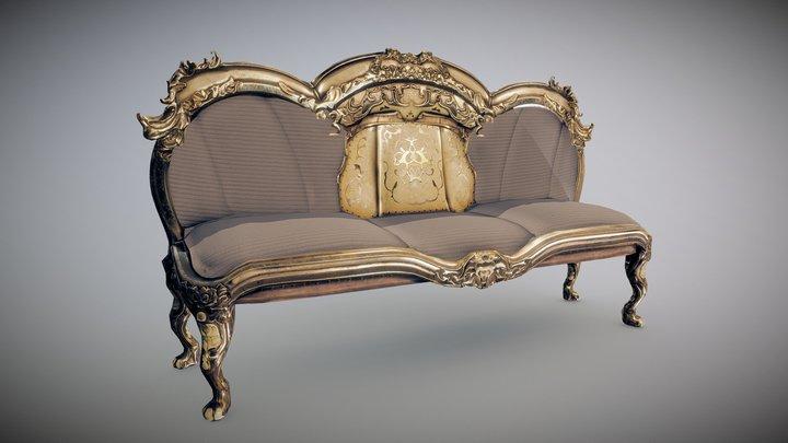 Ornamental rococo sofa 3D Model