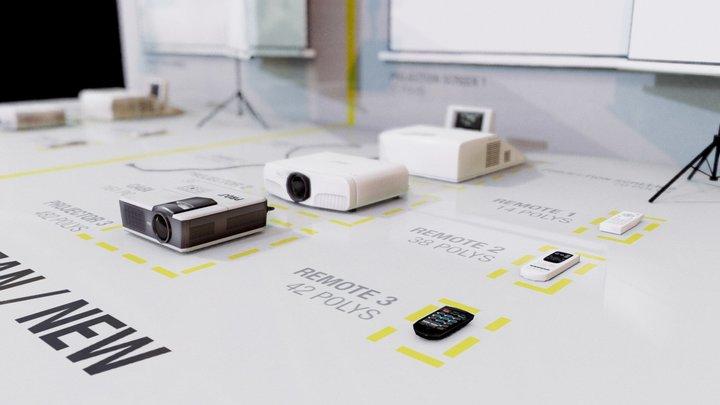 Low poly projectors - Store pack 3D Model