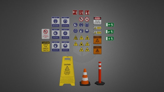 Industrial Signs Pack 3D Model