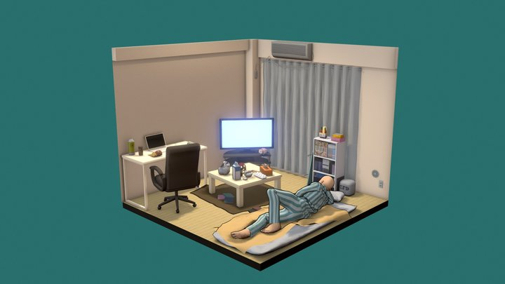 Saitamas Apartment - One Punch Man Fan Art. 3D Model