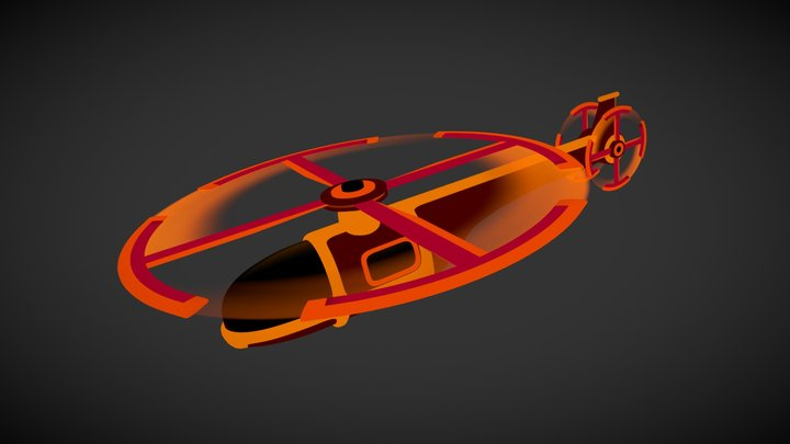 Neon Helicopter - Animated 3D Model