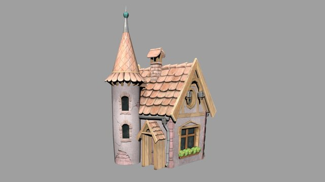 """Low-poly stylized """"handpainted"""" fairy tale house 3D Model"""