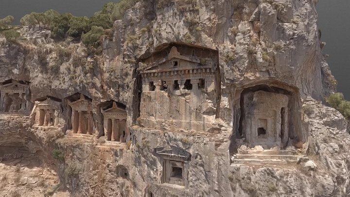 Lycian cliff tombs, Dalyan 3D Model