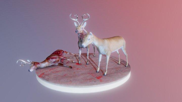 Hand Painted Plague Deers 3D Model