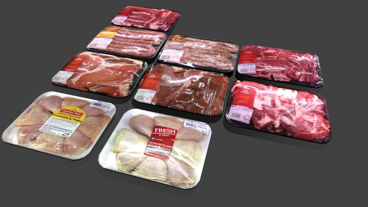 Cold Area Meat Section kit for shop or store 3D Model