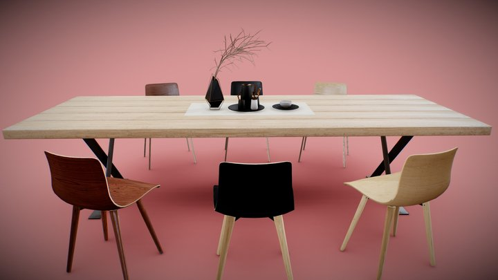 Industrial Dining Table Set 3D Model