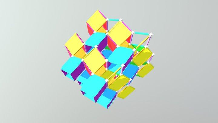 Banchoff polytope net flexed 3D Model
