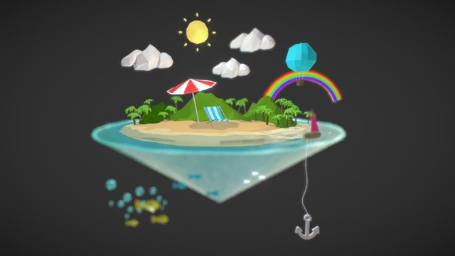 Summer Low-Poly 3D Model