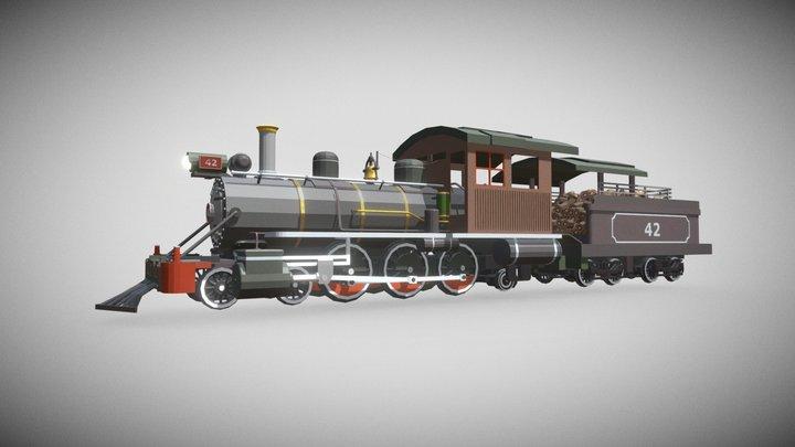 LowPoly Steam Locomotive 3D Model