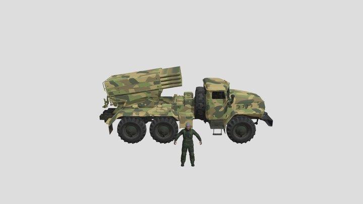 Rigged BM 21 Grad Rocket Russian Soldier 3D Model