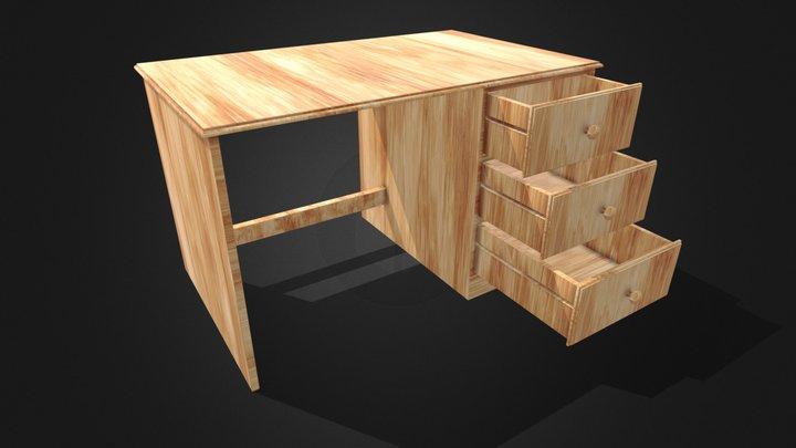 Wooden Desk 3D Model