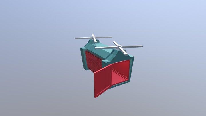 Drone Carga (com Contêiner) 3D Model