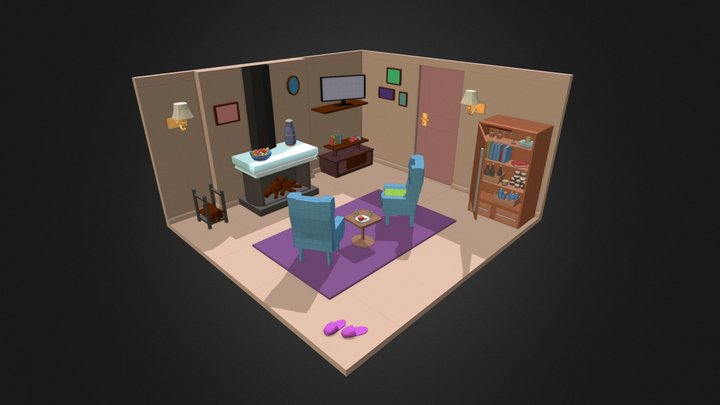 3D Isometric Room 3D Model