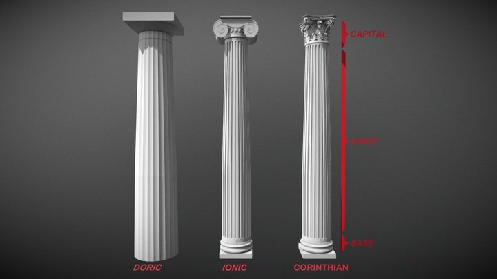 The Three Orders of Greek Architecture 3D Model