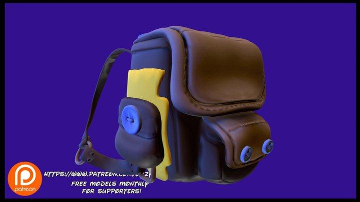 Leather Backpack 3D Model