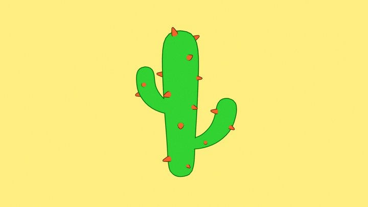 Toon Cactus 3D Model