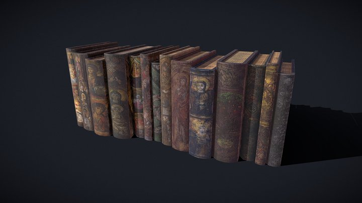 Medieval Books Row2 Design1and2 3D Model