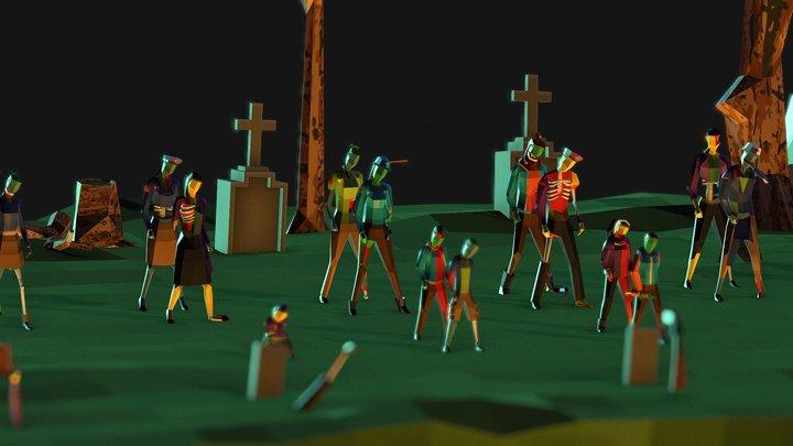 Lowpoly Zombies 3D Model