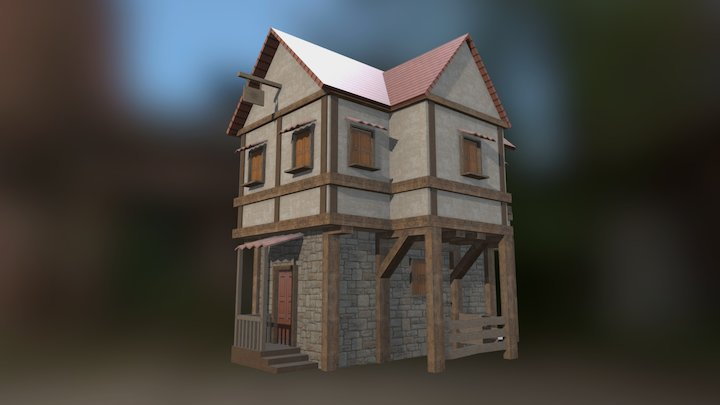 Building Mesh - Medieval Styled 3D Model