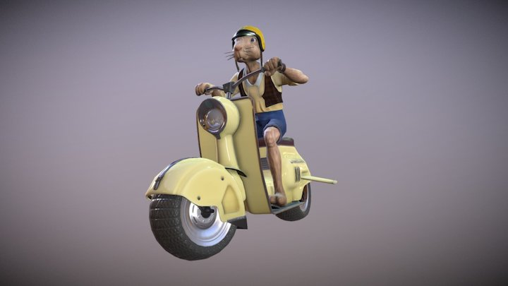 Rabibunny on Scooter 3D Model