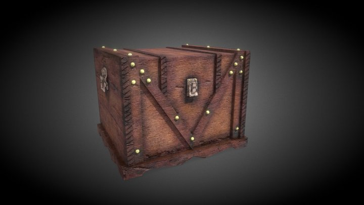 Wooden Chest PBR 3D Model