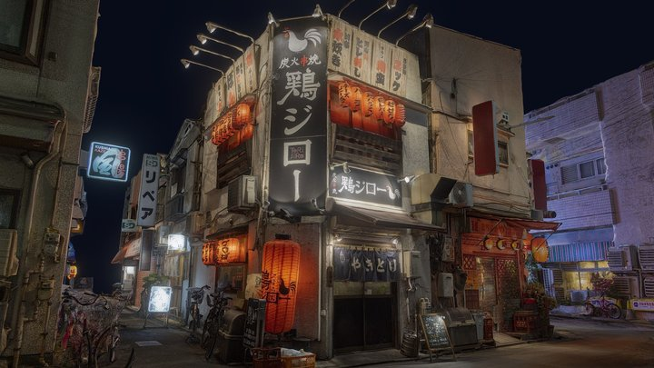 Sangenjaya neighbourhood at night - Tokyo 3D Model