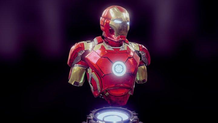 IRON MAN MARK XLIII_Battle damaged bust 3D Model