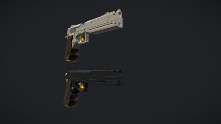 Ebony& Ivory Guns 3D Model