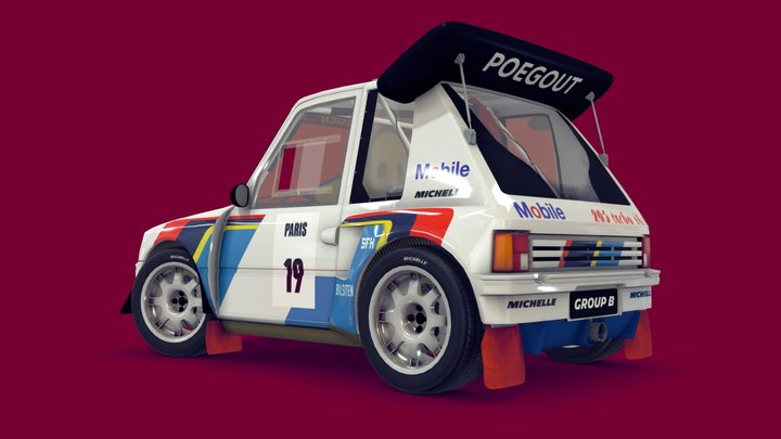 Cartoon Rally Car 3D Model