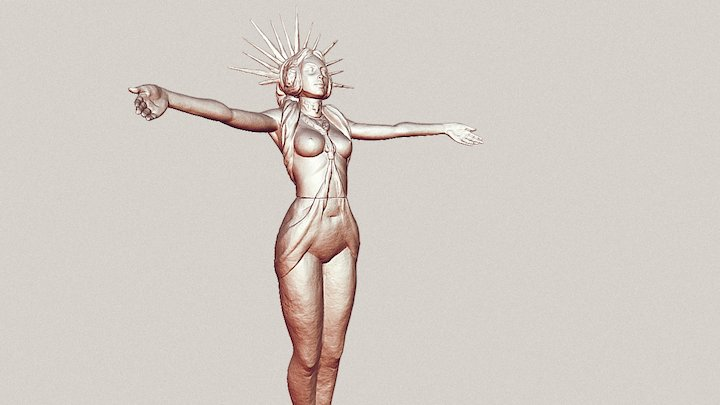 Godess Statue WIP 3D Model