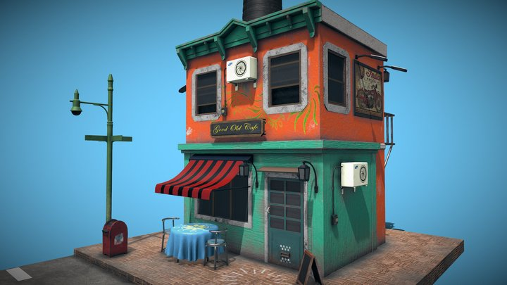 Old classic cafe 3D Model
