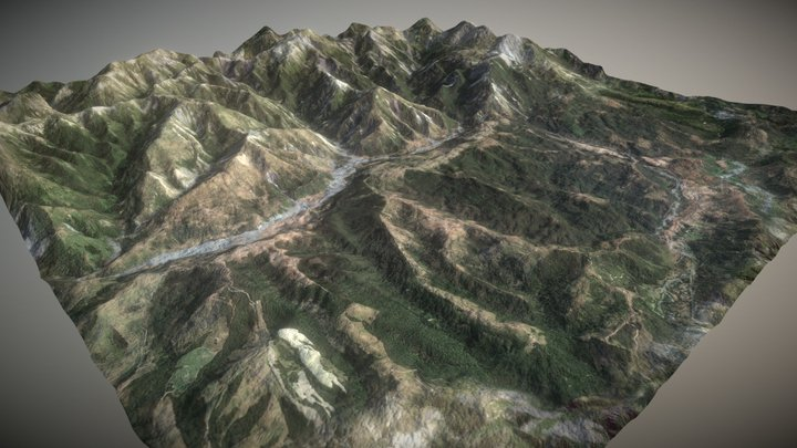 Grassy Mountains Geo 3D Model