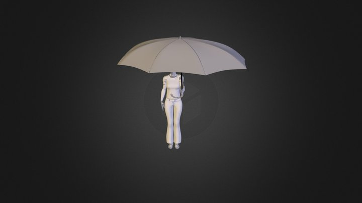 Person Holding Umbrella 3D Model