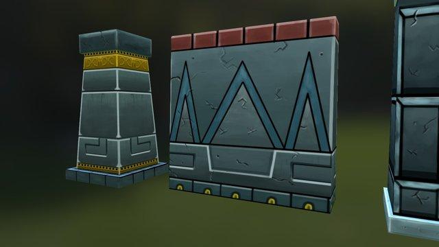 Aztec Modular Building Pieces 3D Model