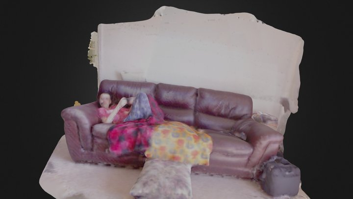 Boy on couch 3D Model