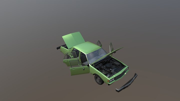 Real Car 4 Separated Parts 3D Model