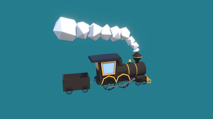 Old steam low poly locomotive 3D Model