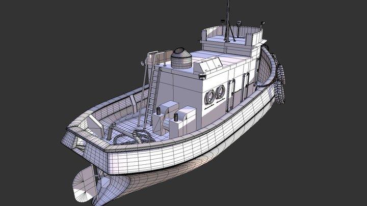 Small Boat Trawler Tug Fishing 3D Model
