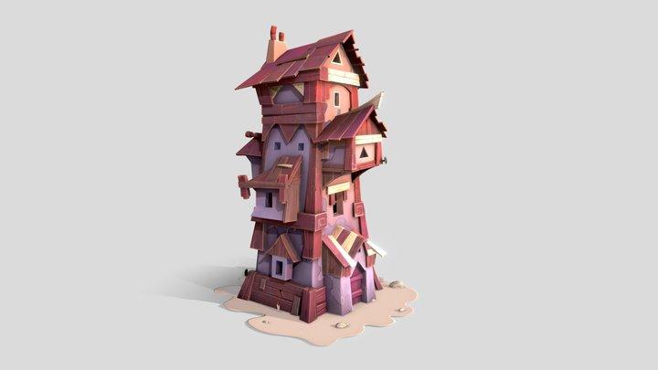 Purple Cartoon House 3D Model