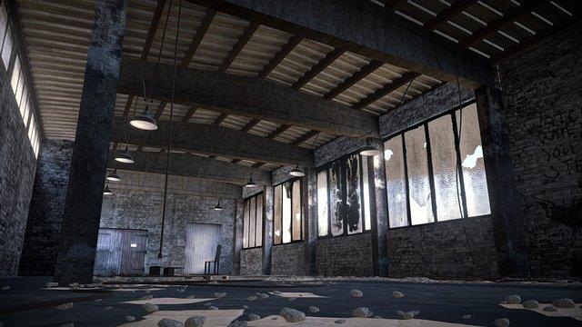 Abandoned Warehouse - Interior Scene 3D Model